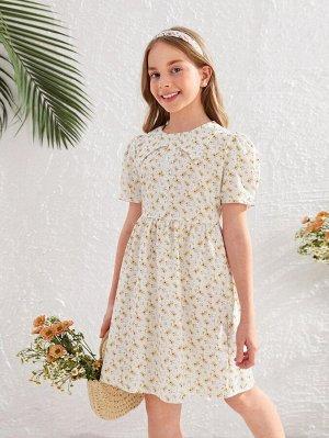 Платье с пуговицами и цветочным принтом для девочек