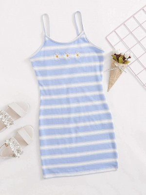 Платье в полоску с цветочной вышивкой для девочек