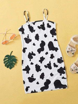 Облегающее платье с коровьим принтом для девочек