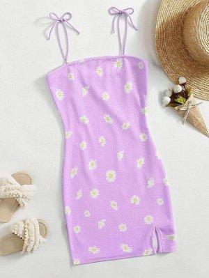 Платье с цветочным принтом и разрезом для девочек