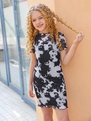 Сетчатое платье с принтом тай дай для девочек