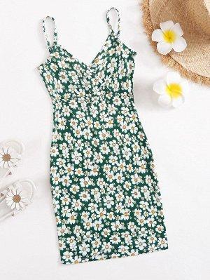 Платье с цветочным принтом для девочек