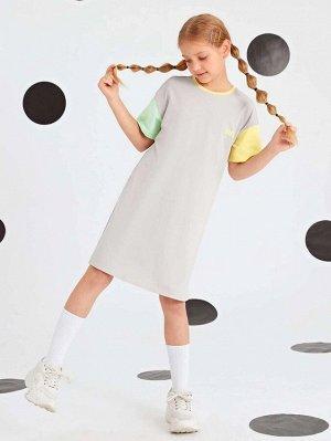 Платье-футболка с текстовым принтом для девочек