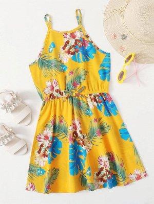 Платье на бретелях с тропическим принтом для девочек