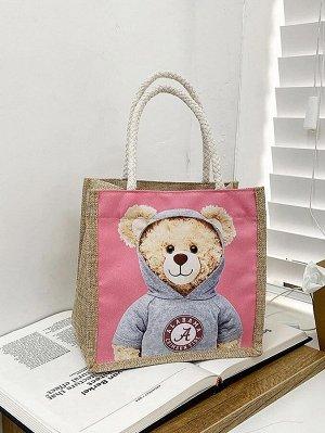 Двойная ручка Мультяшный принт Детские сумки на плечо и сумки-тоут