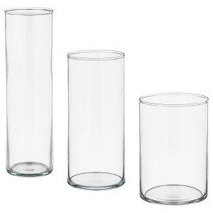 Набор ваз,3 штуки, прозрачное стекло