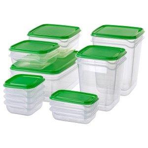 Набор контейнеров, 17 шт., прозрачный, зеленый