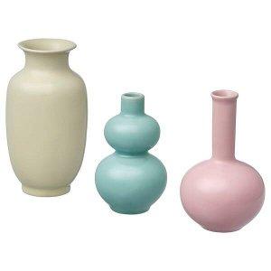 Набор ваз,3 штуки, зеленый/розовый, желтый