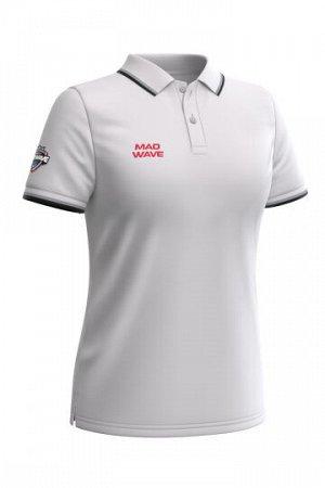 Белый Состав: Хлопок - 100% Женская футболка-поло с коротким рукавом. Приталенный силуэт.