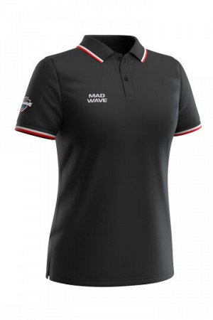 Черный Состав: Хлопок - 100% Женская футболка-поло с коротким рукавом. Приталенный силуэт.