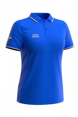 Синий Состав: Хлопок - 100% Женская футболка-поло с коротким рукавом. Приталенный силуэт.