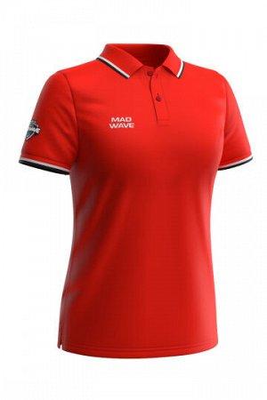 Красный Состав: Хлопок - 100% Женская футболка-поло с коротким рукавом. Приталенный силуэт.