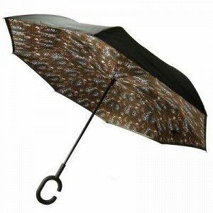 """Зонт-трость механический, обратного сложения """"Леопард"""" плаще"""