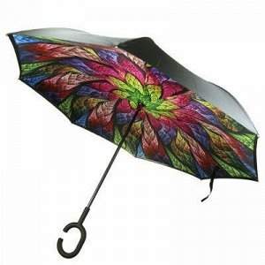 """Зонт-трость механический, обратного сложения """"Павлин"""" плащев"""