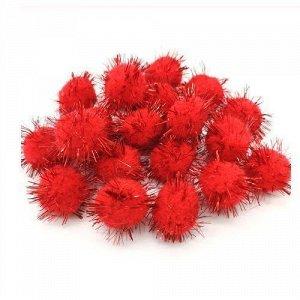 Помпоны акриловые с люрексом 1,5 см красный