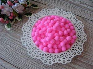Помпоны акриловые с люрексом 1,5 см ярко-розовый