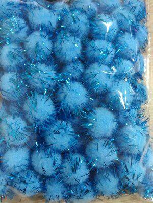 Помпоны акриловые с люрексом  1 см голубой 100шт