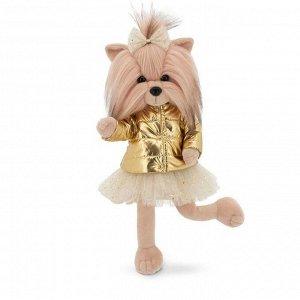 Мягкая игрушка Lucky Yoyo, в золотом пуховике с каркасом 25 см