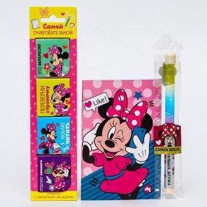 """Подарочный набор """"Самой очаровательной"""", Минни Маус (блокнот, ручка-шейкер, магнитные закладки 4 шт."""