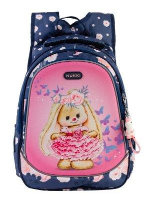 Школьный рюкзак NUK21-G5001-02 темно-синий; ярко-розовый девочки