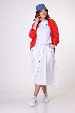 Блуза, бомбер, юбка T&N 7050 красный-белый
