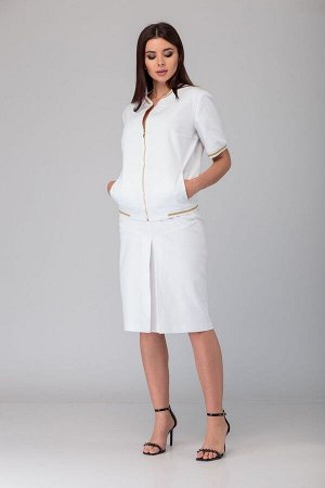 Блуза, юбка Anelli 631 белый-золото