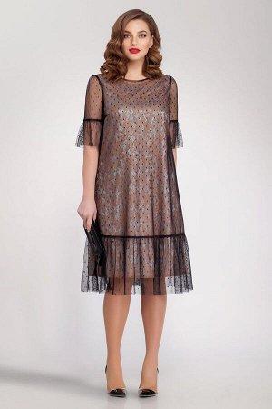 Платье Магия моды 1554 беж+черный