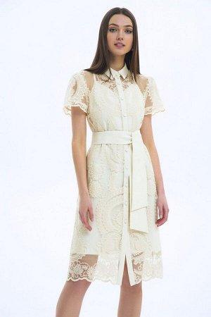 Платье, пояс LaVeLa L10153 молочный