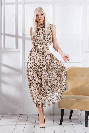 Платье Achosa 101 коричневая волна