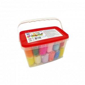 """Тесто для лепки 24 цвета, 1440 г, """"Игротека"""" в пластиковом контейнере + 6 штампов"""