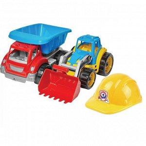 Набор строительная техника, каска, в сетке (3шт) 37*34.5*20.5 Т3954