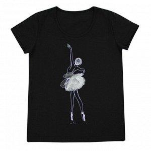 Футболка Милая блузка для девушек. Материал: 95% хлопок, 5% эластан, кулирка с лайкрой Размеры: 32, 34, 36, 38, 40, 42  Цвет - Черный