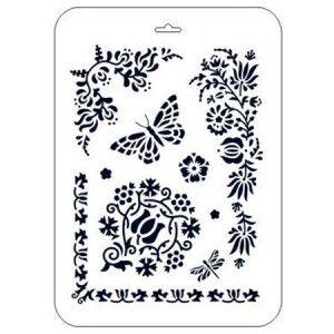 Трафарет декоративный пластиковый Бабочка и цветочные уголки 21*31см
