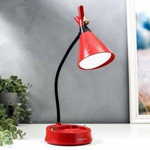 Настольная лампа с диммером 16299/1RD LED 4Вт USB АКБ 3000-6000К красный 12,3х12,3х37 см