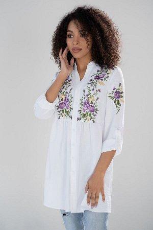 Блузка Рост: 164 см. Состав ткани: полиэстер - 51%, вискоза - 38%, спандекс - 11%. Удлиненная рубашка с вышивкой — один из самых популярных предметов женской одежды. Она необыкновенно универсальна в к