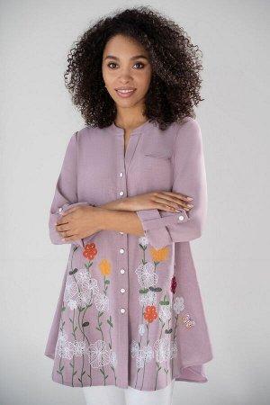 Блузка Рост: 164 см. Состав ткани: полиэстер - 58%, вискоза – 23%, лен – 19%. Стильная и невероятно комфортная блуза с вышивкой, придаст вашему образу легкости и элегантности. Крой блузки позволяет вс