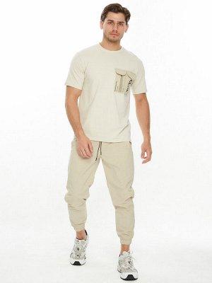 Костюм джоггеры с футболкой бежевого цвета 221096B