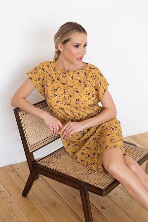 Платье Ульяна №39. Цвет:горчичный/цветы