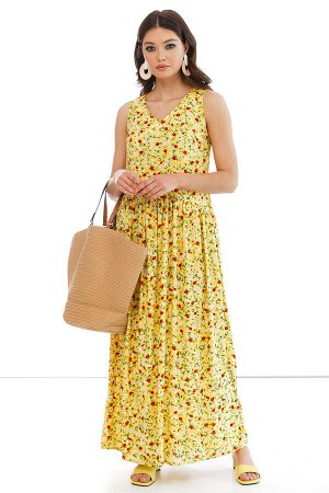 "Сарафан ""Ханна"" (лимон, красные цветы) П2324"