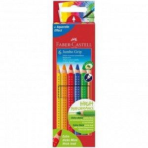"Набор цветных карандашей ""Jumbo Grip"", 6 цв., трехгранные, утолщенные, Faber-Castell"