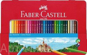 """36 цветов, Набор цветных карандашей """"Замок"""" в металлическом пенале, Faber-Castell"""