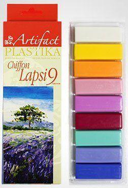 """Пластика (полимерная глина) """"LAPSI""""  набор 9 цв. по 20 г, с эффектом шифона, Артефакт"""