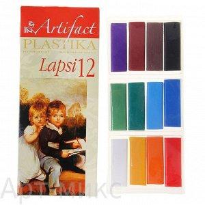 "Пластика (полимерная глина) ""LAPSI"" 12 классических цветов по 20 г, Артефакт"