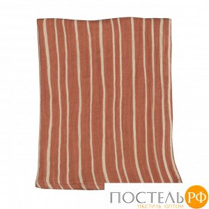 Полотенце кухонное из хлопкового муслина терракотового цвета с принтом Полоски из коллекции Prairie 70х50 см