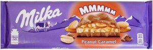 Milka шоколад молочный с карамельной начинкой с арахисом и с арахисовой начинкой с воздушным рисом и кусочками арахиса, 276 г