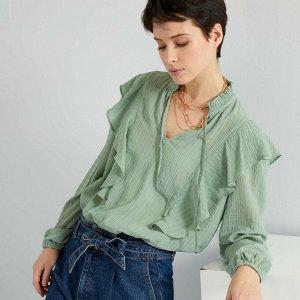 Воздушная блузка с эффектом драпировки - зеленый