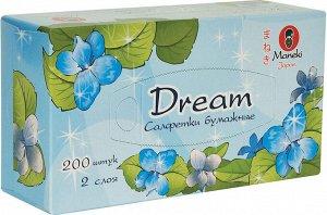 """Салфетки бумажные """"Maneki"""", серия Dream 2 слоя, белые, 200 шт./коробка"""