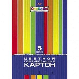 """Картон цветной А4 5л 5цв """"Хатбер Creative Set"""" гофрир. 1/15 арт. 5Кц4г_06556"""