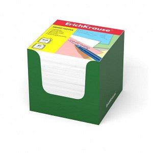 "Блок для записей ""ErichKrause"" 90х90х90 белый, в зеленой карт.подставке 1/12 арт. ЕК-37009"