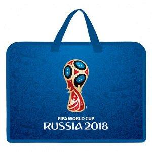 "Папка для труда А4 ""Хатбер ФИФА Эмблема"" 1 отд., пластик, с ручками на молнии, синяя арт. Amn_14069"